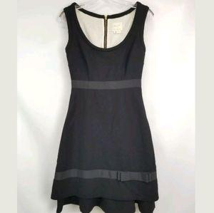 Kate Spade Black Wool Crepe A Line Bow Dress
